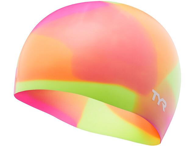 TYR Tie Dye Silicone Swim Cap Juniors Yellow/Pink/Orange